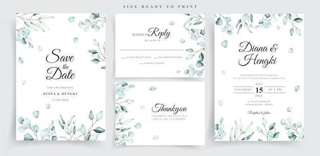 Plantilla de conjunto de tarjeta de boda de eucalipto suave