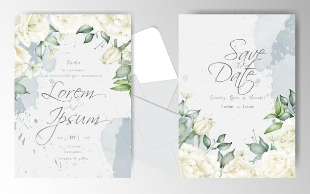 Plantilla de conjunto de tarjeta de invitación de boda acuarela con hermoso arreglo floral