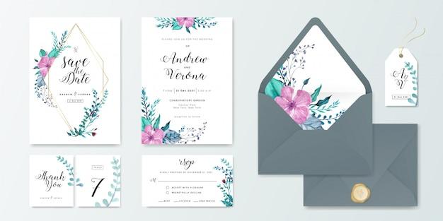 Plantilla del conjunto de tarjeta de la invitación de la boda con la decoración floral de la acuarela.