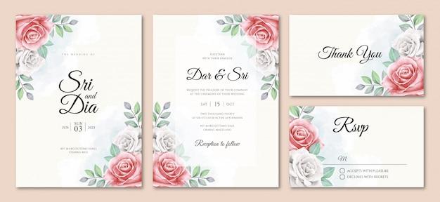 Plantilla de conjunto de tarjeta de invitación de boda elegante con hermosa floral de la acuarela
