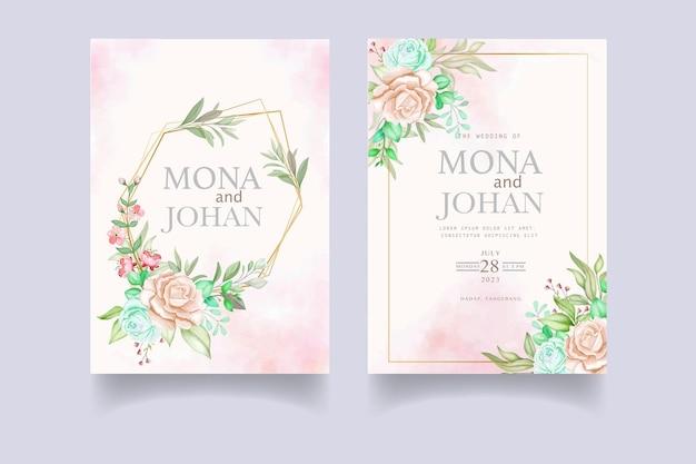 Plantilla de conjunto de tarjeta de invitación de boda elegante