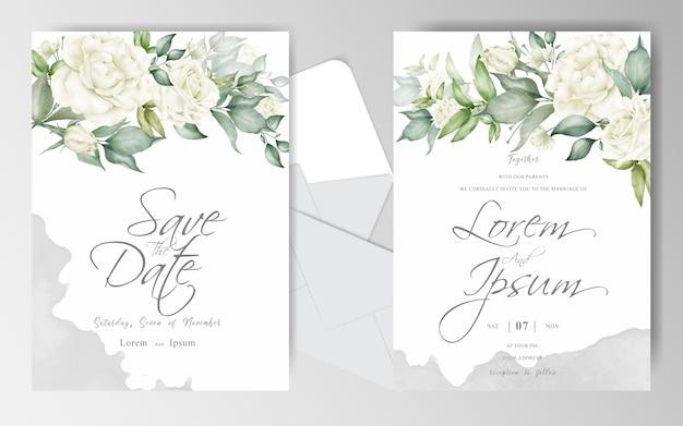 Plantilla de conjunto de tarjeta de invitación de boda con flor blanca y hojas