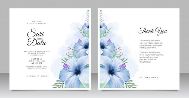 Plantilla de conjunto de tarjeta de invitación de boda con hermosa acuarela floral