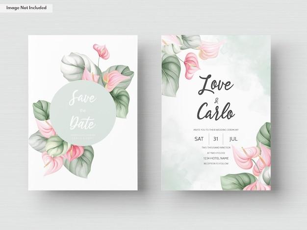 Plantilla de conjunto de tarjeta de invitación de boda hermosa