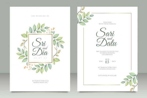 Plantilla de conjunto de tarjeta de invitación de boda con hermosas hojas aquarel