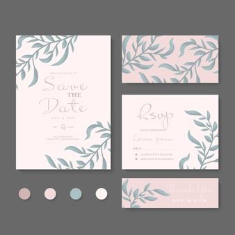 Plantilla de conjunto de tarjeta de invitación de boda con hermoso marco floral