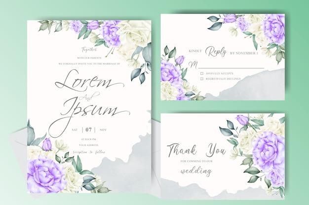 Plantilla de conjunto de tarjeta de invitación de boda con salpicaduras de acuarela cremosa