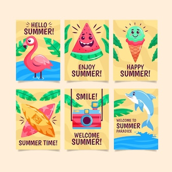 Plantilla de conjunto de tarjeta de verano