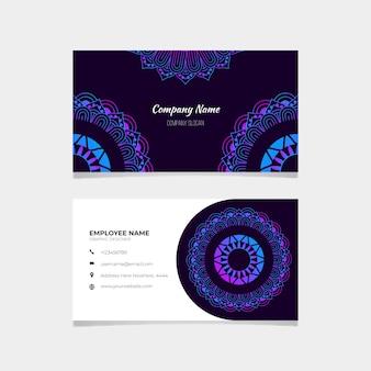 Plantilla de conjunto de tarjeta de visita mandala