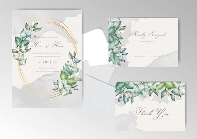 Plantilla de conjunto de tarjetas de invitación de boda hermosa con salpicaduras de acuarela y floral