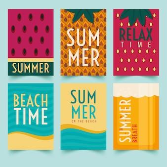 Plantilla de conjunto de tarjetas de verano
