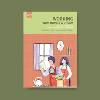 Plantilla de consejos de información cuando la gente trabaja desde casa y cocina. ilustración de vector de acuarela de concepto de oficina en casa