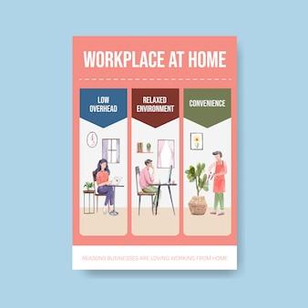 Plantilla de consejos de información cuando las personas trabajan desde casa. ilustración de vector de acuarela de concepto de oficina en casa
