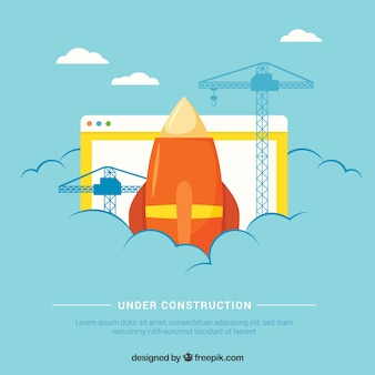 Plantilla de bajo construcción en estilo plano