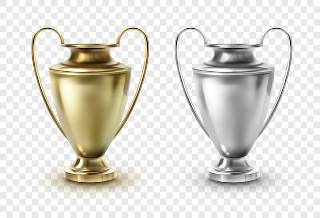 Plantilla de copa de fútbol de oro y plata, trofeos de copa de premio aislados sobre fondo transparente