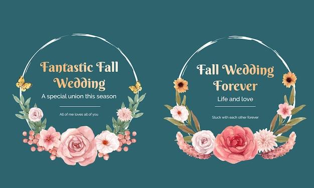 Plantilla de corona con concepto de otoño de boda en estilo acuarela
