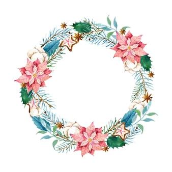 Plantilla de corona de navidad en acuarela