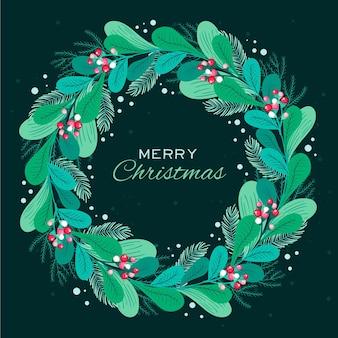 Plantilla de corona de navidad dibujada a mano