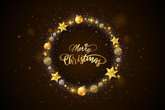 Plantilla de corona de navidad dorada