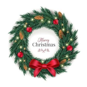 Plantilla de corona de navidad realista