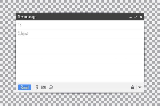 Plantilla de correo electrónico en blanco interfaz de marco de correo de internet para mensaje de correo