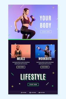Plantilla de correo electrónico de fitness creativo con foto