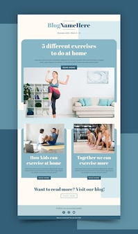 Plantilla de correo electrónico de fitness con fotos
