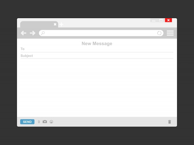 Plantilla de correo electrónico o ventana de navegador de correo electrónico en blanco