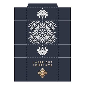 Plantilla de corte láser de embalaje con diseño de mandala indio