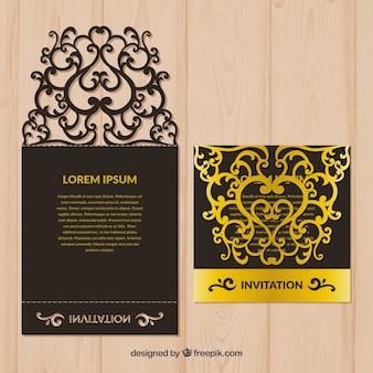 Plantilla de corte láser en negro y dorado
