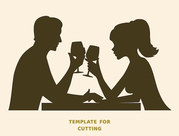 Plantilla para corte por láser, tallado en madera, corte de papel. siluetas para cortar. pareja joven bebiendo vino plantilla de vector.