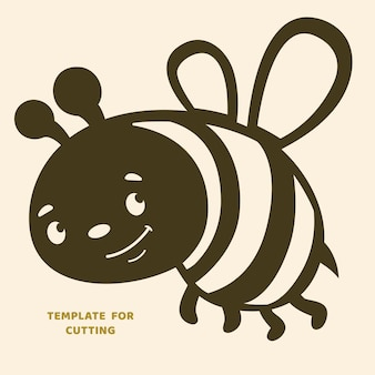 Plantilla para corte por láser, tallado en madera, corte de papel. siluetas para cortar. plantilla de vector de abeja.