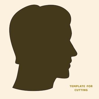 Plantilla para corte por láser, tallado en madera, corte de papel. siluetas para cortar. plantilla de vector de cabeza de hombre.