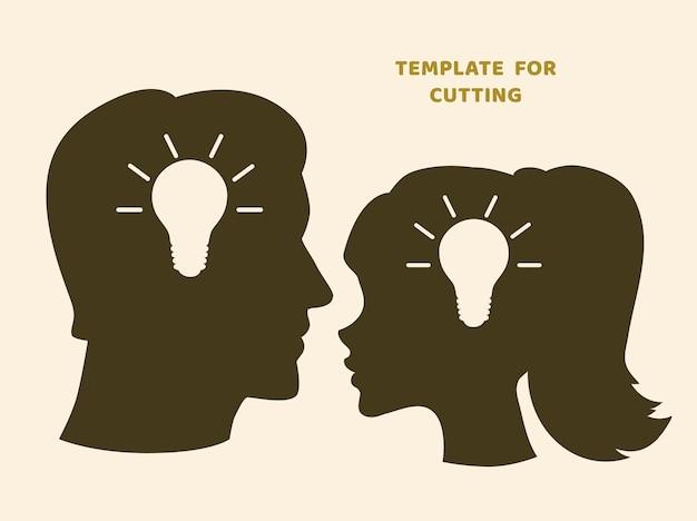 Plantilla para corte por láser, tallado en madera, corte de papel. siluetas para cortar. plantilla de vector de cabeza de mujer y hombre.