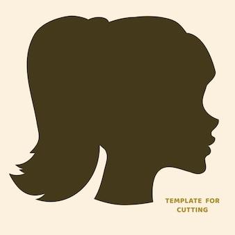 Plantilla para corte por láser, tallado en madera, corte de papel. siluetas para cortar. plantilla de vector de cabeza de mujer.