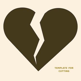 Plantilla para corte por láser, tallado en madera, corte de papel. siluetas para cortar. plantilla de vector de corazón roto.