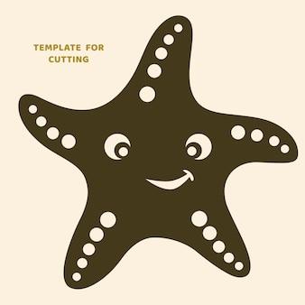 Plantilla para corte por láser, tallado en madera, corte de papel. siluetas para cortar. plantilla de vector de estrella de mar.
