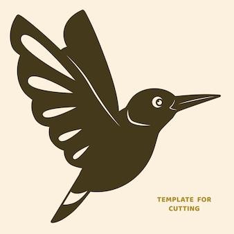 Plantilla para corte por láser, tallado en madera, corte de papel. siluetas para cortar. plantilla de vector de pájaro.