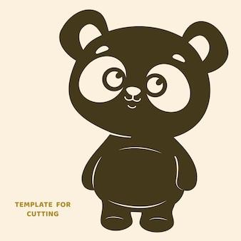 Plantilla para corte por láser, tallado en madera, corte de papel. siluetas para cortar. plantilla de vector de panda.