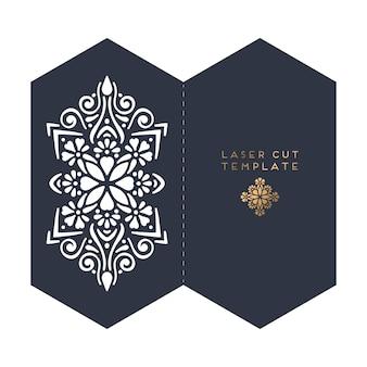 Plantilla de corte de láser de tarjeta de boda de vector