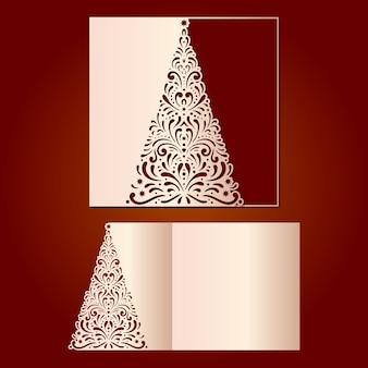 Plantilla de corte láser para tarjetas navideñas con árbol de navidad,