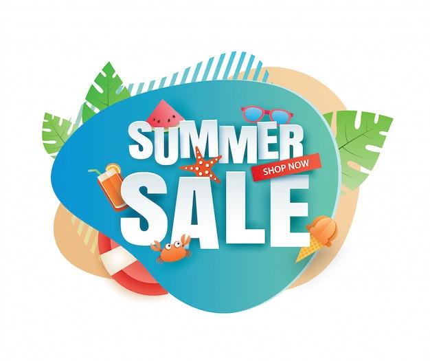 Plantilla de corte de papel de banner de venta de verano. azul abstracto geométrico.