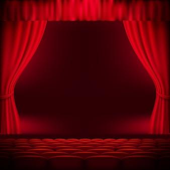 Plantilla de cortina roja. archivo incluido