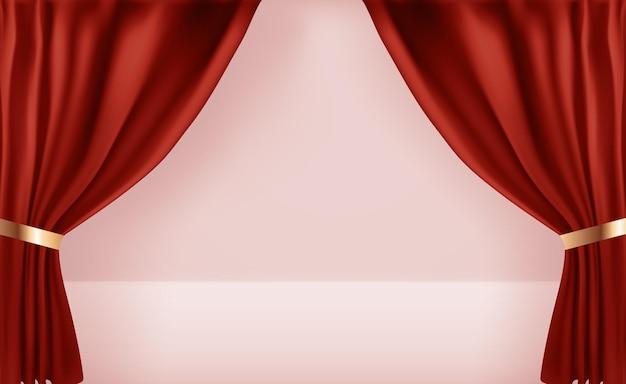 Plantilla de cortinas abiertas 3d realista.