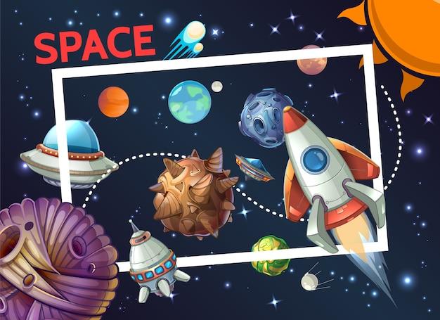 Plantilla cósmica de dibujos animados con marco rectangular cohete nave espacial ovni planetas asteroides meteoros