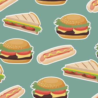 Plantilla sin costuras con hamburguesas y sándwiches de comida rápida