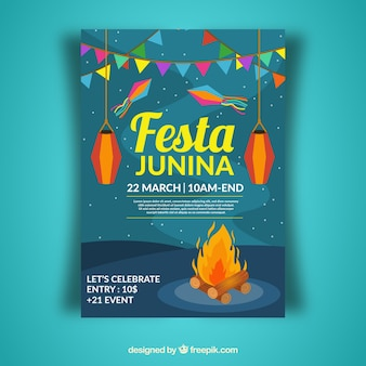 Plantilla de cover azul de festa junina