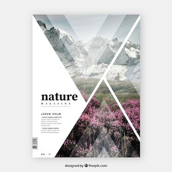 Plantilla de cover de revista de naturaleza