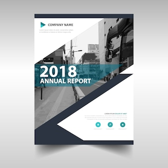 Plantilla creativa azul de cubierta de libro para informe anual