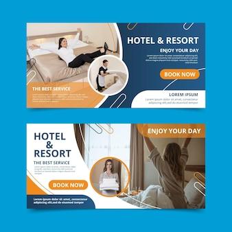 Plantilla creativa de banner de hotel plano con foto